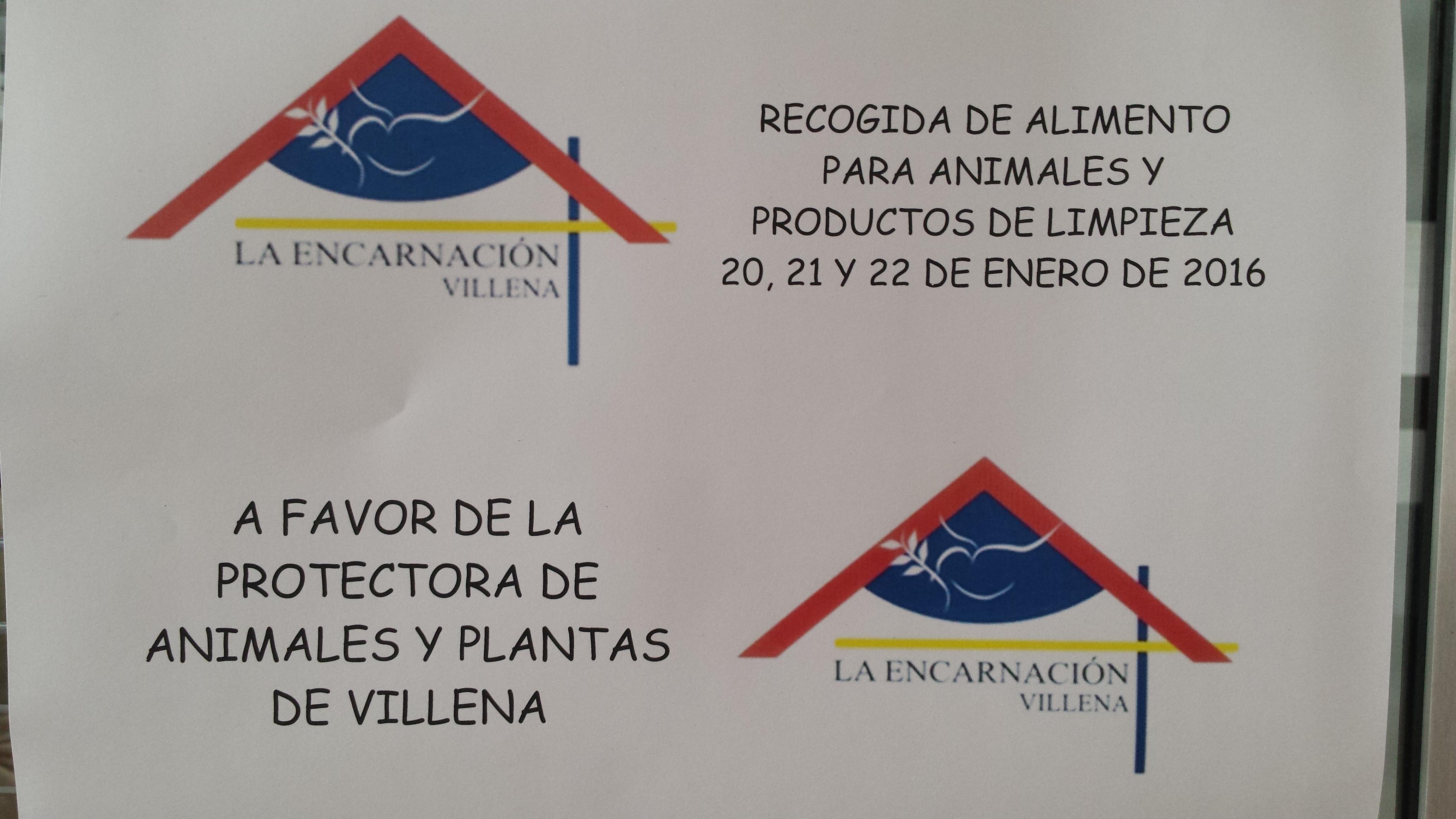 Colegio La Encarnación: Recogida campaña de productos para animales.
