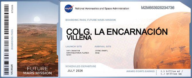 Boarding Pass del Colegio La Encarnación para la futura misión en Marte